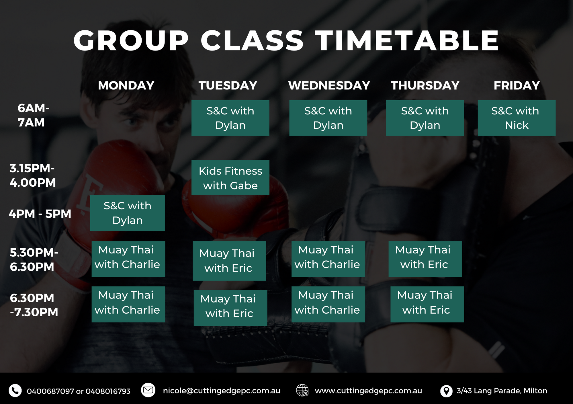 GROUP CLASS TIMETABLE